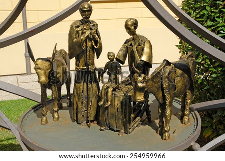 ITALY, RAVENNA-SEPTEMBE 9, 2014: nativity at the Neonian Baptistery garden. The place is visited by thousands of tourists every years.  - stock photo