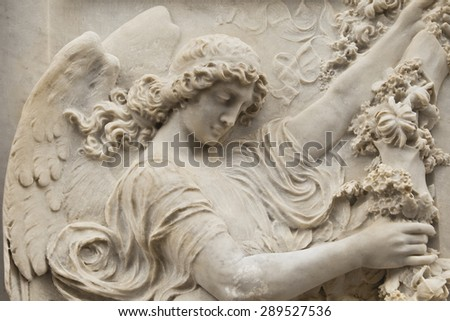 Italy, relief of angel, marble