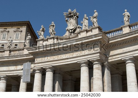 Italy, Roma, Vatican. Statues on Saint Peter's Square