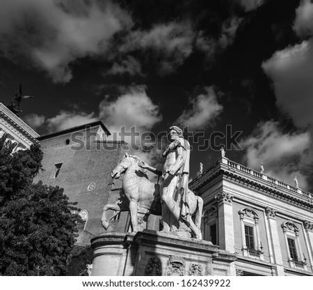 Italy, Rome, Campidoglio Square, roman statue - stock photo