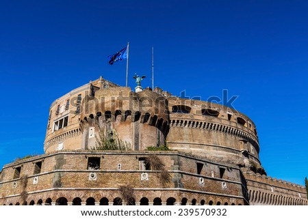 italy, rome, castel sant angelo  with st. peter's basilica in hintergrund - stock photo