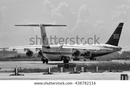 Italy, Rome, Ciampino Airport, 26 July 2010, airplanes on the runway ready for takeoff - EDITORIAL