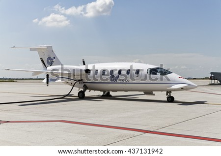 Italy, Rome, Ciampino Airport; 26 July 2010, small executive jet being refilled with gasoline on the runway - EDITORIAL