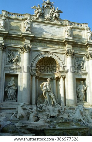 ITALY, ROME - FEBRUARY 21: Trevi Fountain at February 21, 2003 in Rome, Italy. Trevi Fountain is one of the most popular date spot in Rome. - stock photo