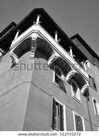 Italy, Rome, Garbatella,  view of an old building facade