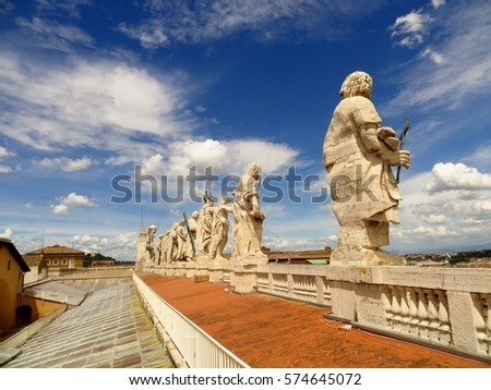 Italy. Rome. May 20, 2013. View of Saint Peter's Basilica  apostle's sculptures line.