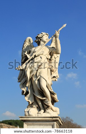 Italy - Rome. One of the angels at famous Ponte Sant' Angelo bridge. Angel with the Lance by Domenico Guidi.