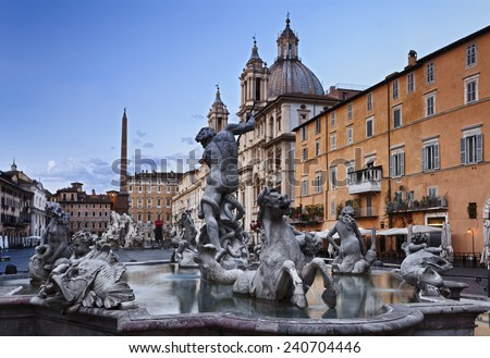 Italy Rome Piazza Navona square landmark with fountains and catholic church of baroque art monuments at sunrise - stock photo