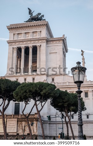 Italy, Rome, Piazza Venezia, 13 December 2015 - Lights and amber colors in a stunning sunrise at Piazza Venezia - stock photo