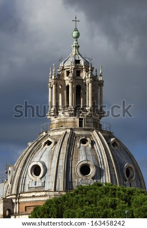 Italy, Rome, Roman Forum, Luca and Martina Saints Church, bell tower  - stock photo