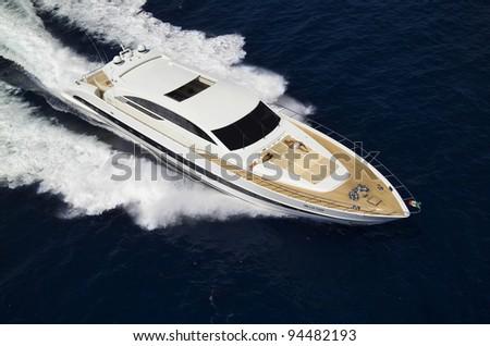 Italy, Sardinia, Tyrrhenian Sea, 35 meters luxury yacht, aerial view - stock photo