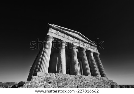 Italy, Sicily, Agrigento, Greek Temples Valley, The Concord Temple (440 b.C.) - stock photo