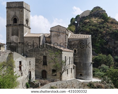 Italy, Sicily, Castelmola, view of the medieval church