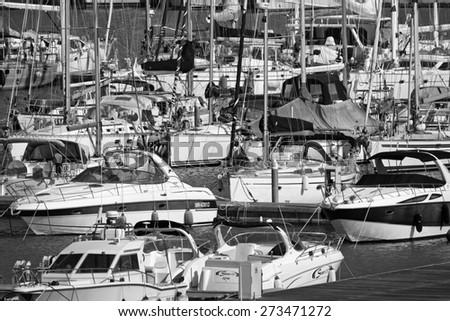 Italy, Sicily, Mediterranean sea, Marina di Ragusa;  28 april 2015, view of luxury yachts in the marina - EDITORIAL - stock photo