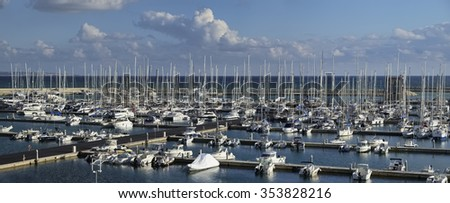 Italy, Sicily, Mediterranean sea, Marina di Ragusa; 21 December 2015, view of luxury yachts in the marina - EDITORIAL - stock photo