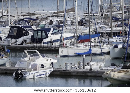 Italy, Sicily, Mediterranean sea, Marina di Ragusa; 25 December 2015, view of luxury yachts in the marina - EDITORIAL - stock photo