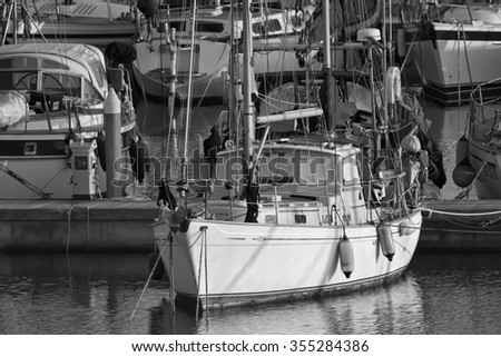 Italy, Sicily, Mediterranean sea, Marina di Ragusa; 26 December 2015, view of luxury yachts in the marina at sunset - EDITORIAL