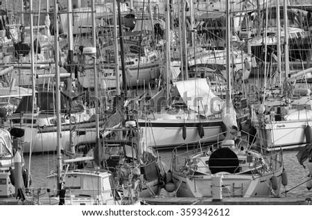 Italy, Sicily, Mediterranean sea, Marina di Ragusa; 7 January 2016, view of luxury yachts in the marina - EDITORIAL - stock photo