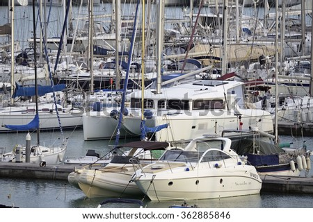 Italy, Sicily, Mediterranean sea, Marina di Ragusa; 15 January 2016, view of luxury yachts in the marina - EDITORIAL