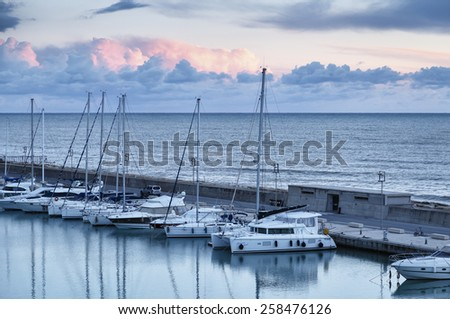Italy, Sicily, Mediterranean sea, Marina di Ragusa; 6 march 2015, view of luxury yachts in the marina - EDITORIAL - stock photo