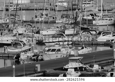 Italy, Sicily, Mediterranean sea, Marina di Ragusa; 29 may 2015, luxury yachts in the marina at sunset - EDITORIAL - stock photo