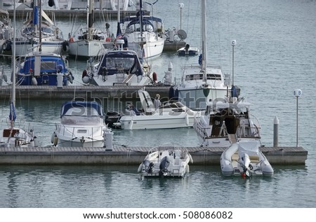 Italy, Sicily, Mediterranean sea, Marina di Ragusa; 1 November 2016, boats and luxury yachts in the port - EDITORIAL