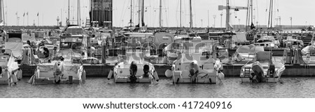 Italy, Sicily, Mediterranean sea, Marina di Ragusa; 14 October 2010, boats and luxury yachts in the port - EDITORIAL