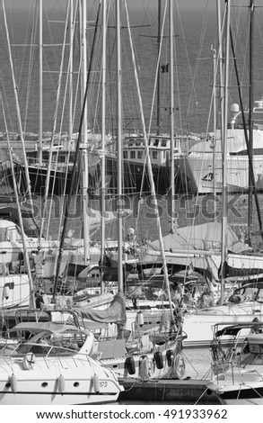 Italy, Sicily, Mediterranean sea, Marina di Ragusa; 2 October 2016, boats and luxury yachts in the port - EDITORIAL