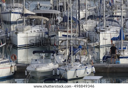Italy, Sicily, Mediterranean sea, Marina di Ragusa; 15 October 2016, boats and luxury yachts in the port - EDITORIAL