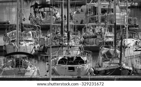 Italy, Sicily, Mediterranean sea, Marina di Ragusa; 19 october 2015, view of luxury yachts in the marina - EDITORIAL