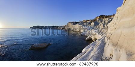 Italy, Sicily,  Mediterranean sea, Realmonte (Agrigento Province), Turkish Steps (Scala dei Turchi) - stock photo