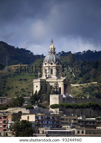 Italy, Sicily, Messina, view of the Cathedral's bell tower - stock photo