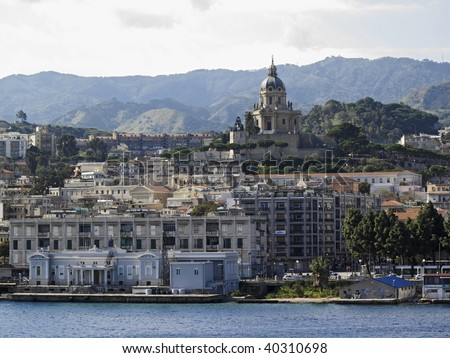 Italy, Sicily, Messina, view of the city and the cathedral from the port - stock photo