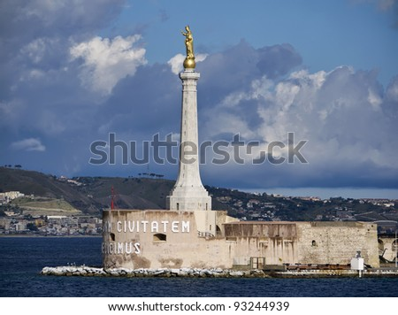Italy, Sicily, Messina, view of the city and the Madonna statue at the port entrance - stock photo