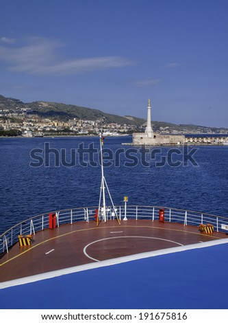 Italy, Sicily, Messina, view of the city and the port from one of the ferryboats that connect Sicily to the italian peninsula - stock photo