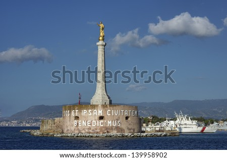 Italy, Sicily, Messina, view of the Madonna statue at the port entrance - stock photo