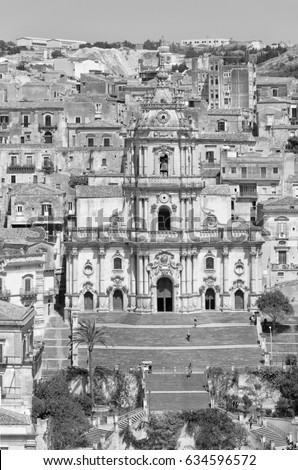 Italy, Sicily, Modica (Ragusa Province), St. George Cathedral baroque facade