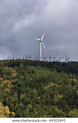 ITALY, Sicily, Nebrodi mountains, Eolic energy turbine