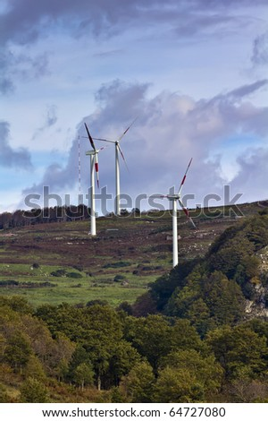 ITALY, Sicily, Nebrodi mountains, Eolic energy turbines