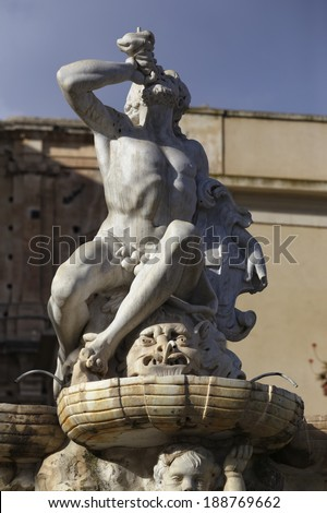 Italy, Sicily, Noto (Siracusa Province) view of the baroque Hercules fountain - stock photo