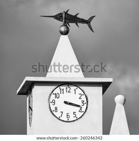 Italy, Sicily, Portopalo di Capopassero, view of the church's bell tower, swordfishing industry here is so important that a metal swordfish was put on the top, instead of a cross - stock photo
