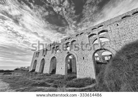 Italy; Sicily, Sampieri (Ragusa Province), ruins of an old bricks factory - stock photo