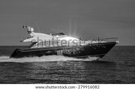 Italy, Sicily, Stromboli Island, luxury yacht - stock photo