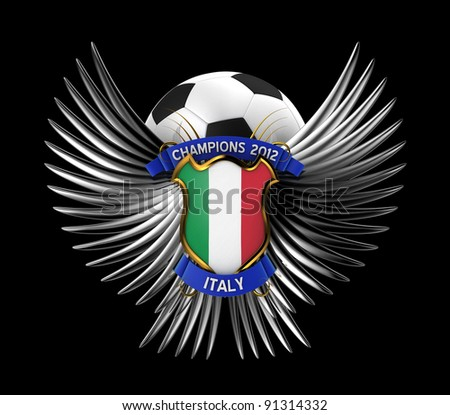 Italy Soccer Ball - easy to isolate over black background - stock photo
