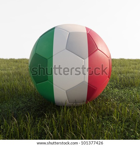 italy soccer ball isolated on grass - stock photo