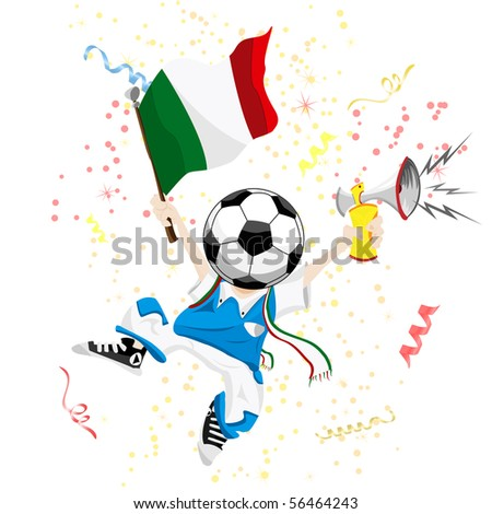Italy Soccer Fan with Ball Head. - stock photo