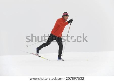 Italy, South Tyrol, man cross-country skiing - stock photo