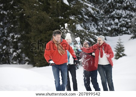 Italy, South Tyrol, Seiseralm friends snowball fighting - stock photo