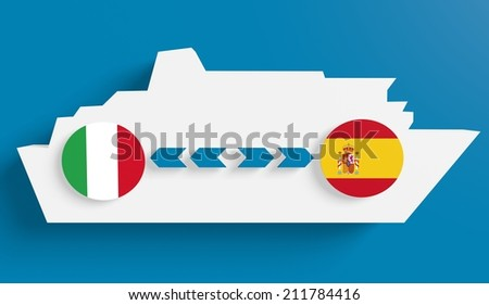 italy spain ferry boat route info in icons - stock photo