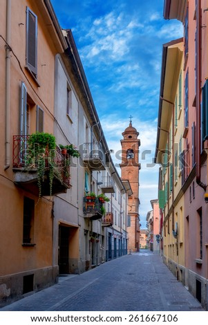 italy street on morning time - stock photo